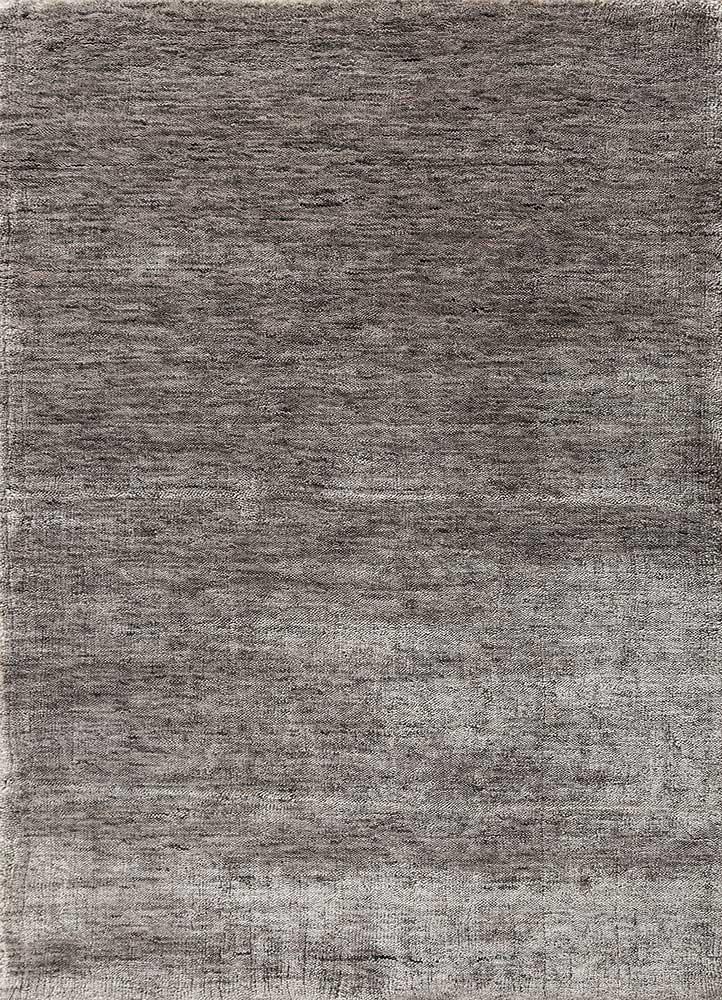yasmin grey and black bamboo silk hand loom Rug - HeadShot