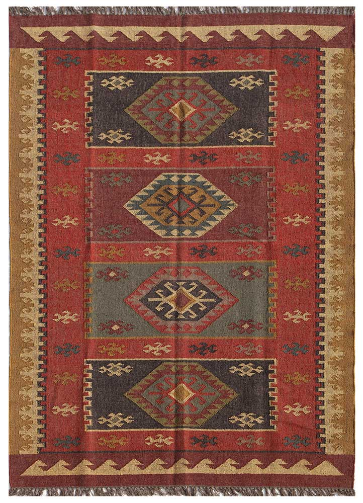 PX-2108 Red/Red red and orange jute and hemp jute rugs Rug