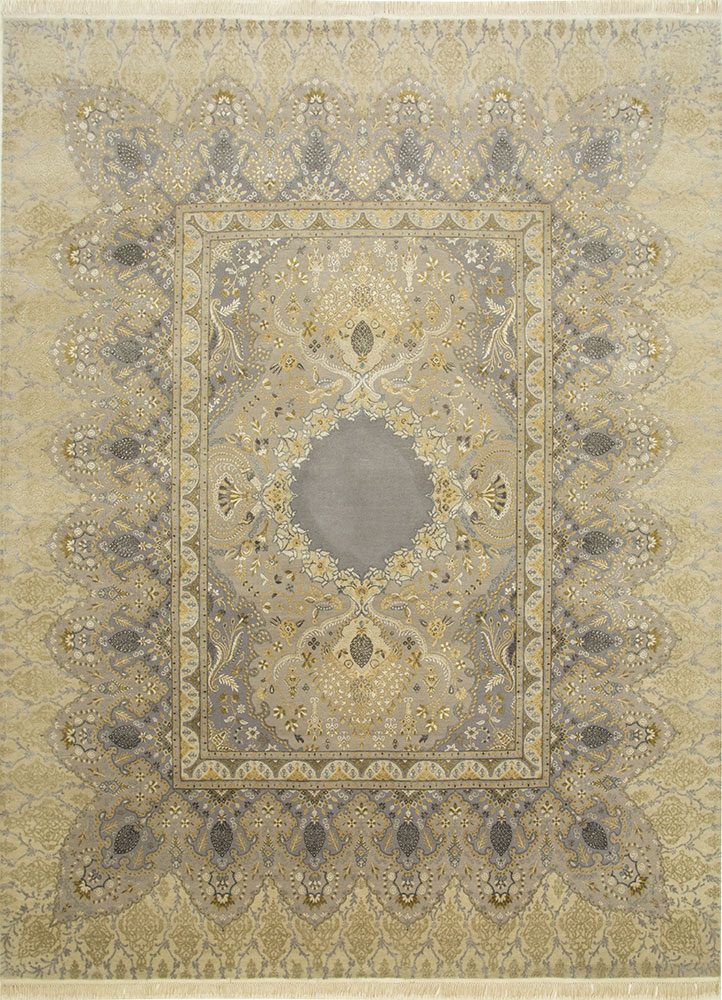 QM-401 Crystal Gray/Off White grey and black wool and silk hand knotted Rug