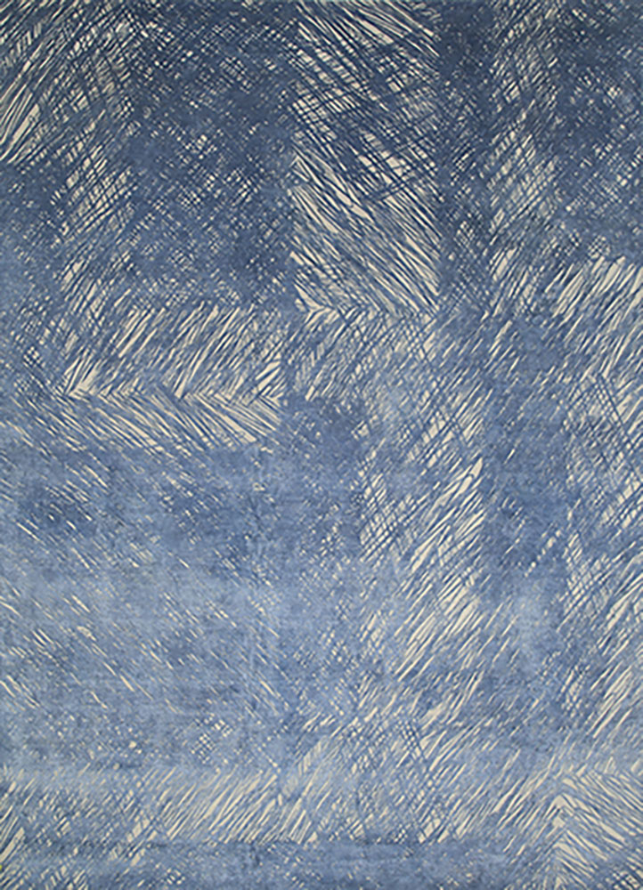 QM-951 Oyster/Cornflower Blue ivory wool and silk hand knotted Rug