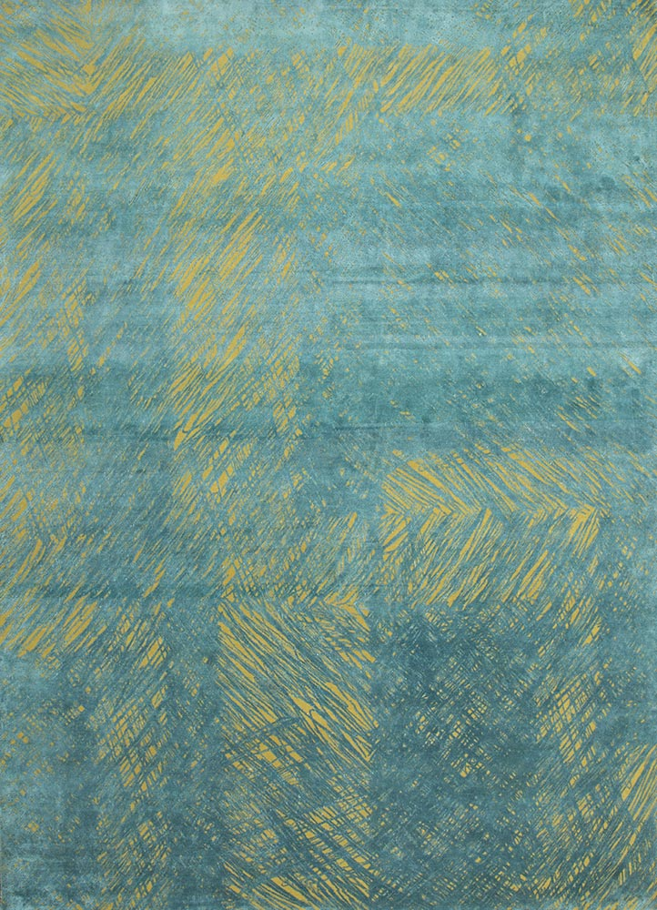QM-951 Butter/Teal Green gold wool and silk hand knotted Rug