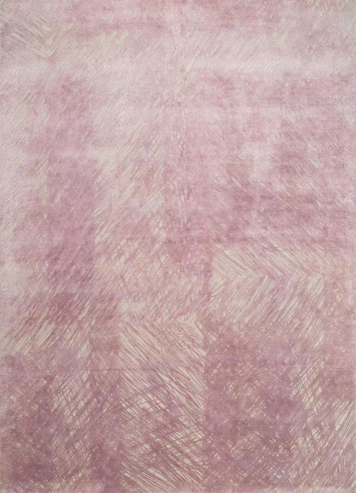 QM-951 Oyster/Wistful Mauve ivory wool and silk hand knotted Rug