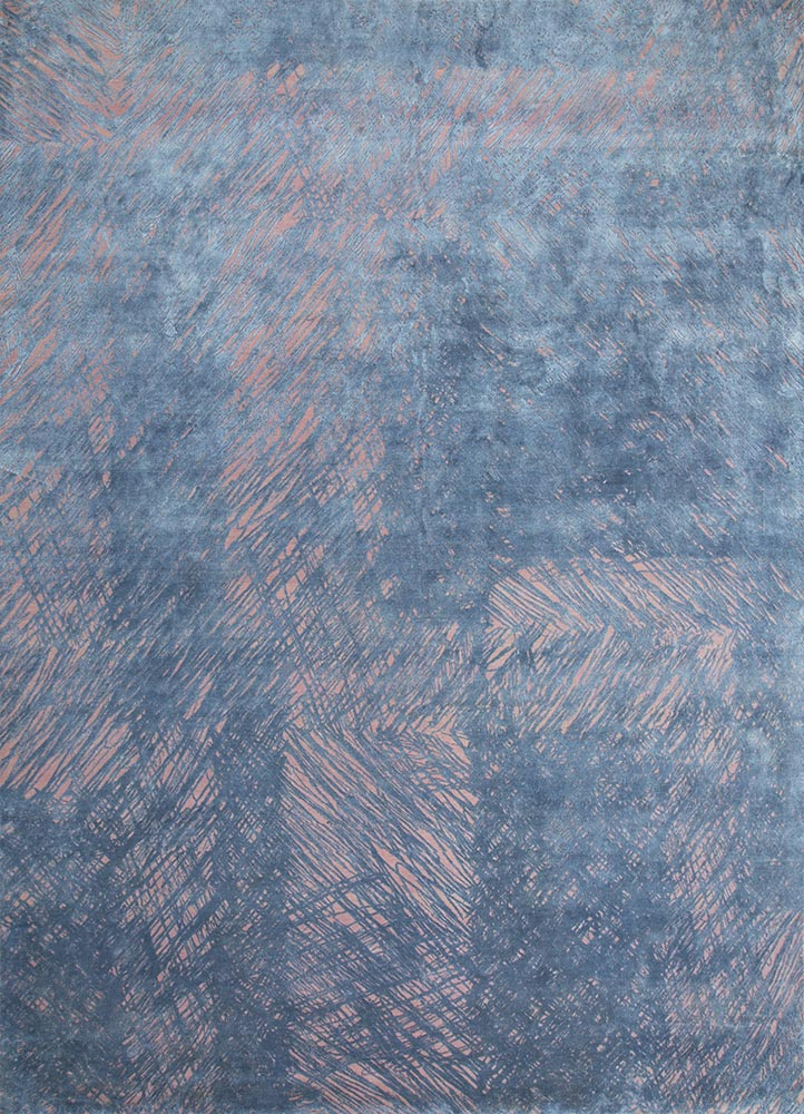 QM-951 Silver Pink/Cornflower Blue red and orange wool and silk hand knotted Rug
