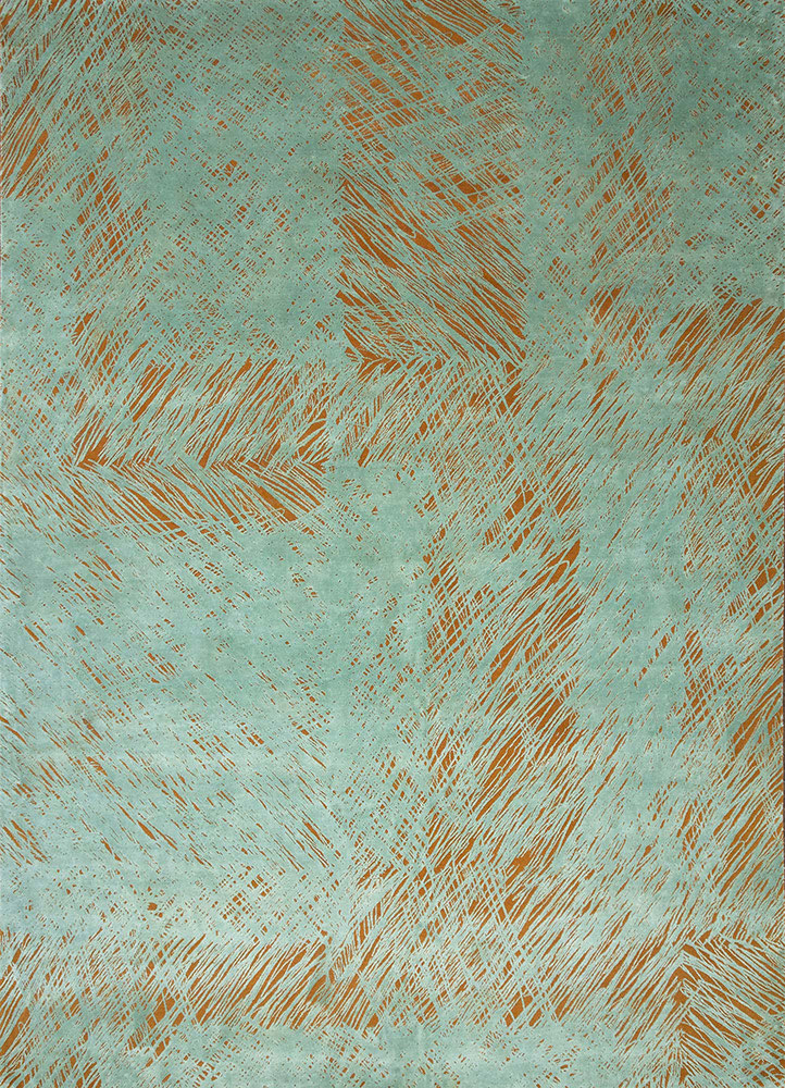 QM-951 Sunset/Fresh Lichen red and orange wool and silk hand knotted Rug