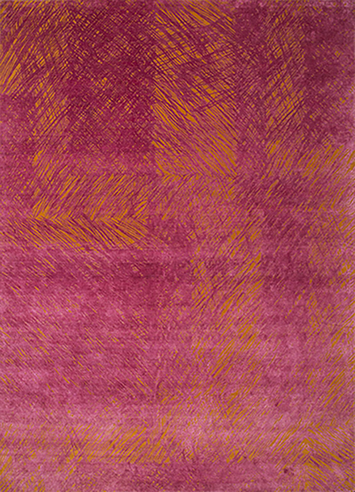 QM-951 Sunset/Fuchsia Rose red and orange wool and silk hand knotted Rug