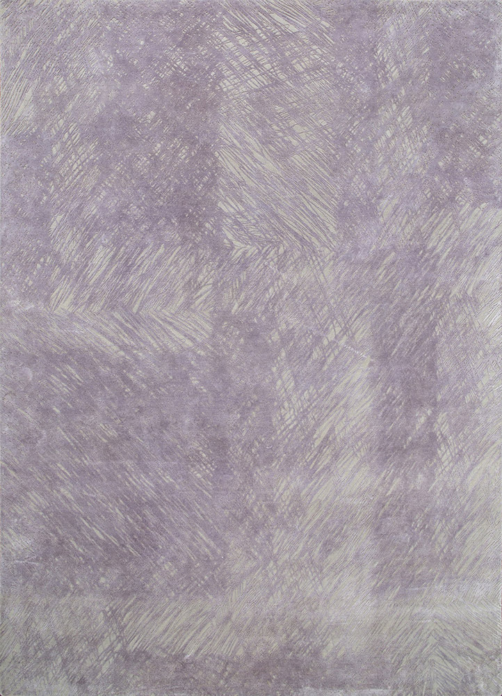 QM-951 Crystal Gray/Purple Sage grey and black wool and silk hand knotted Rug