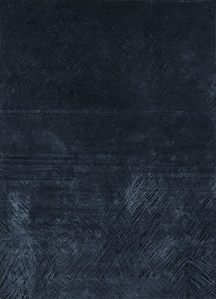 QM-951 Deep Denim/Navy blue wool and silk hand knotted Rug