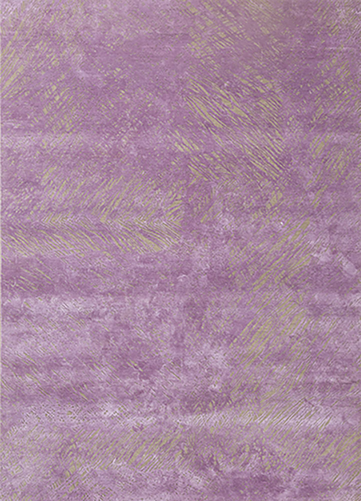 QM-951 Ivory/Dusty Lavender ivory wool and silk hand knotted Rug