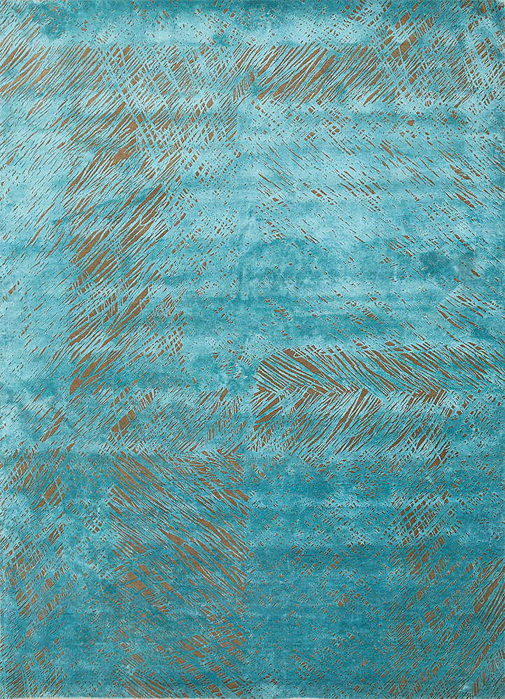 QM-951 Medium Peach/Teal Green beige and brown wool and silk hand knotted Rug