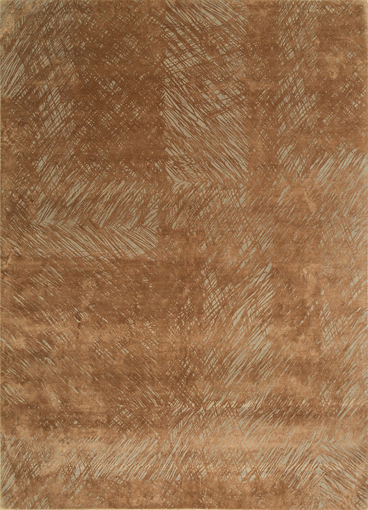 QM-951 Ivory/Raw Sienna ivory wool and silk hand knotted Rug