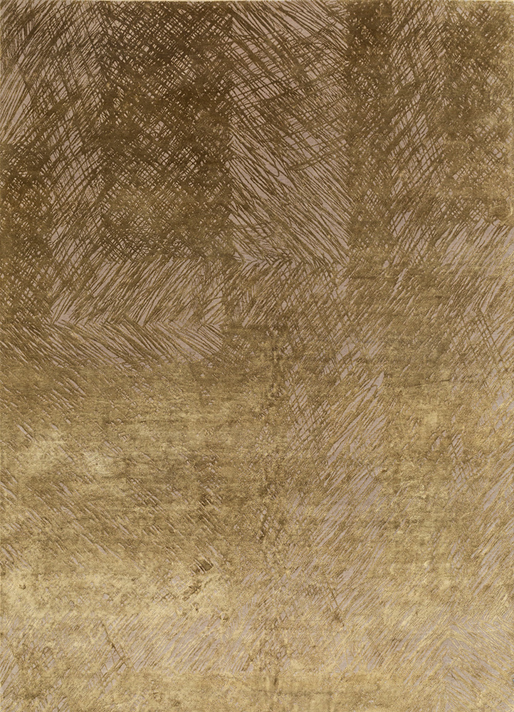 QM-951 Pebble/Brown beige and brown wool and silk hand knotted Rug