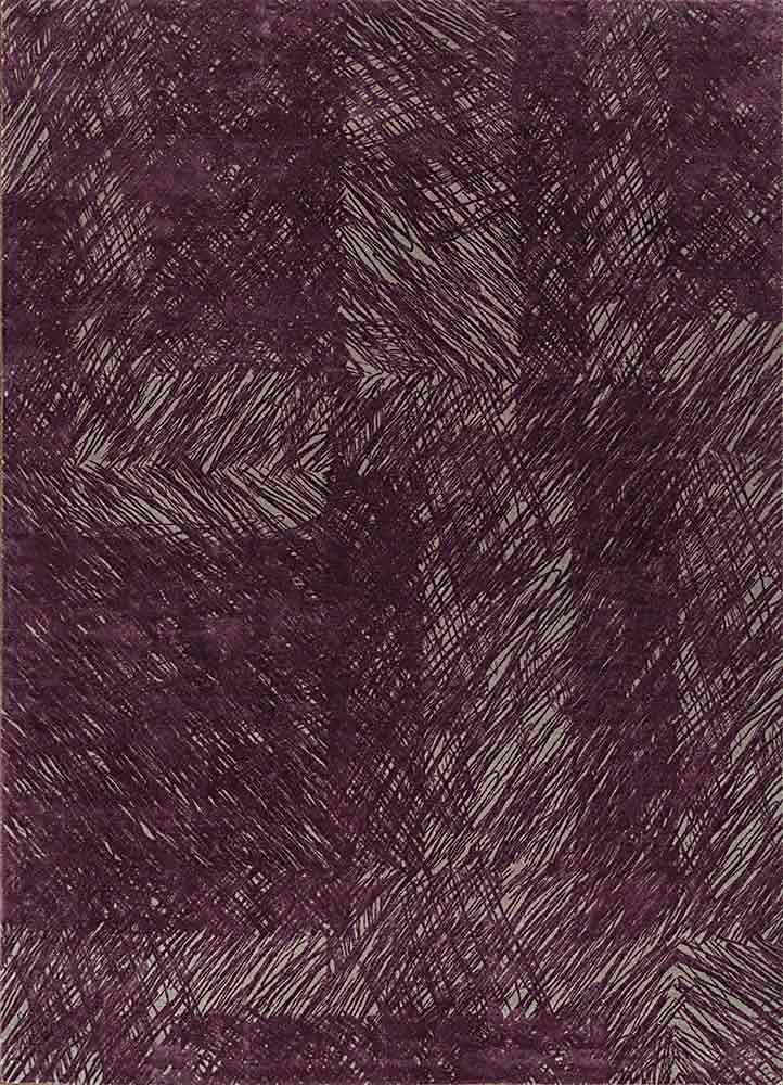 QM-951 Medium Gray/Tulip Purple grey and black wool and silk hand knotted Rug