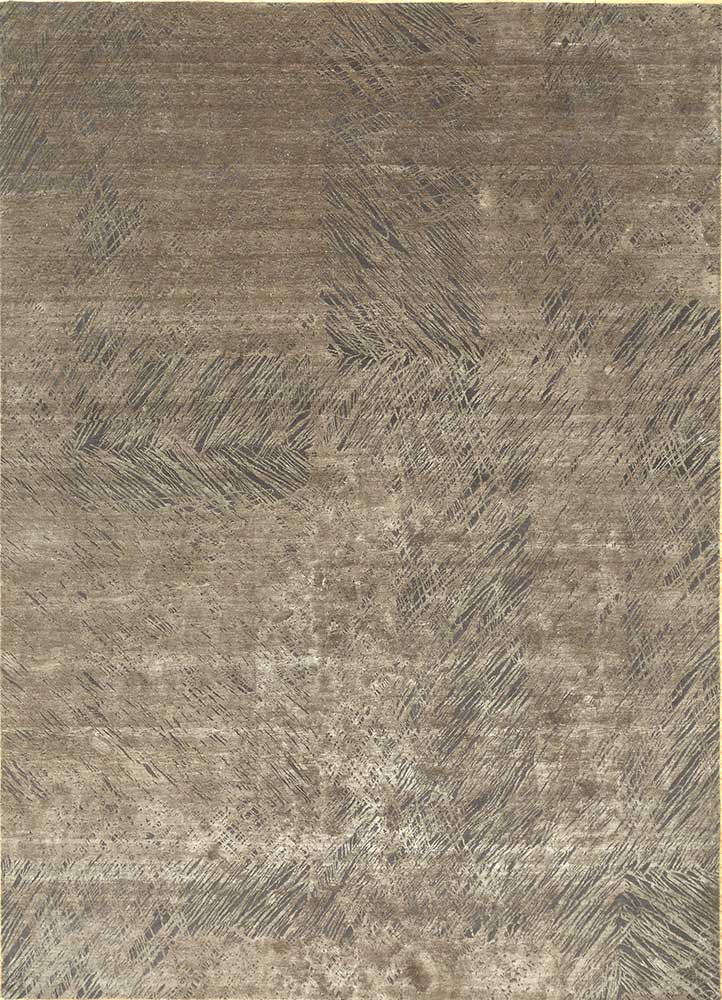 QM-951 Charcoal Slate/Fossil grey and black wool and silk hand knotted Rug
