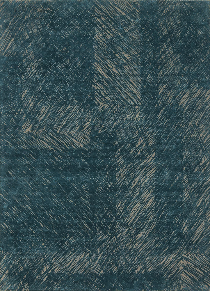 QM-951 Pebble/Deep Teal beige and brown wool and silk hand knotted Rug