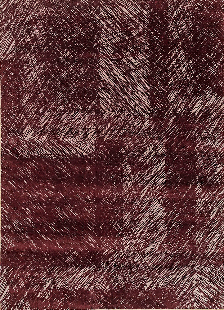 QM-951 Oyster/Plum ivory wool and silk hand knotted Rug