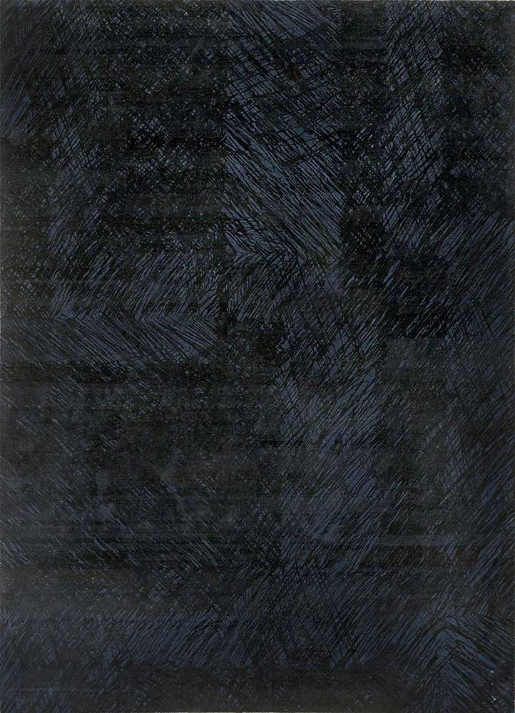QM-951 Medieval Blue/Ebony blue wool and silk hand knotted Rug