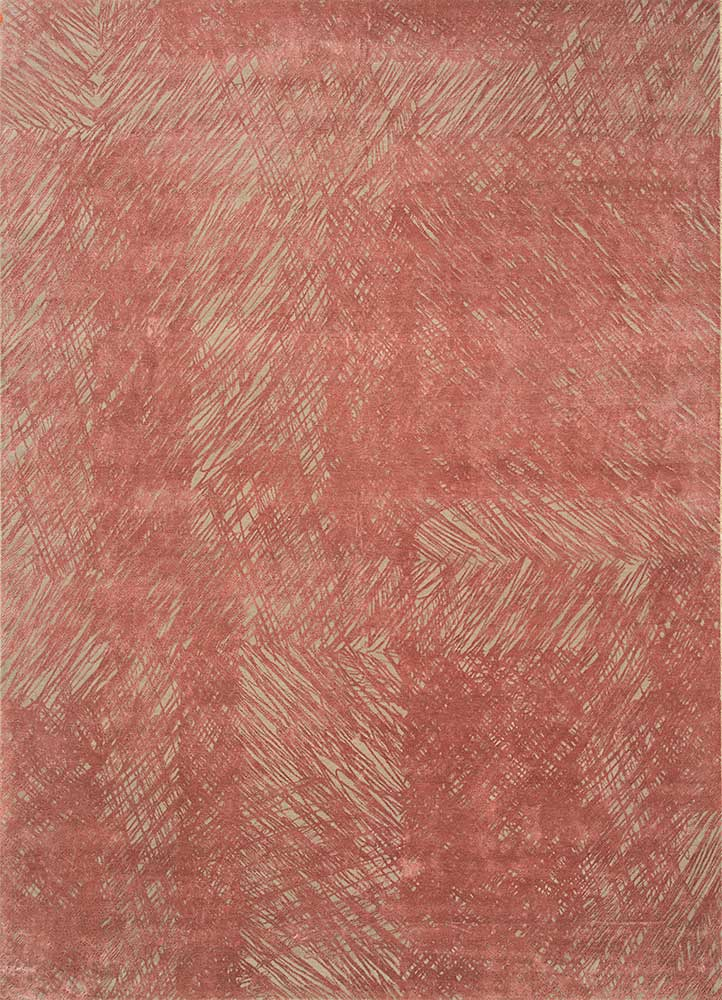 QM-951 Ivory/Old Rose ivory wool and silk hand knotted Rug