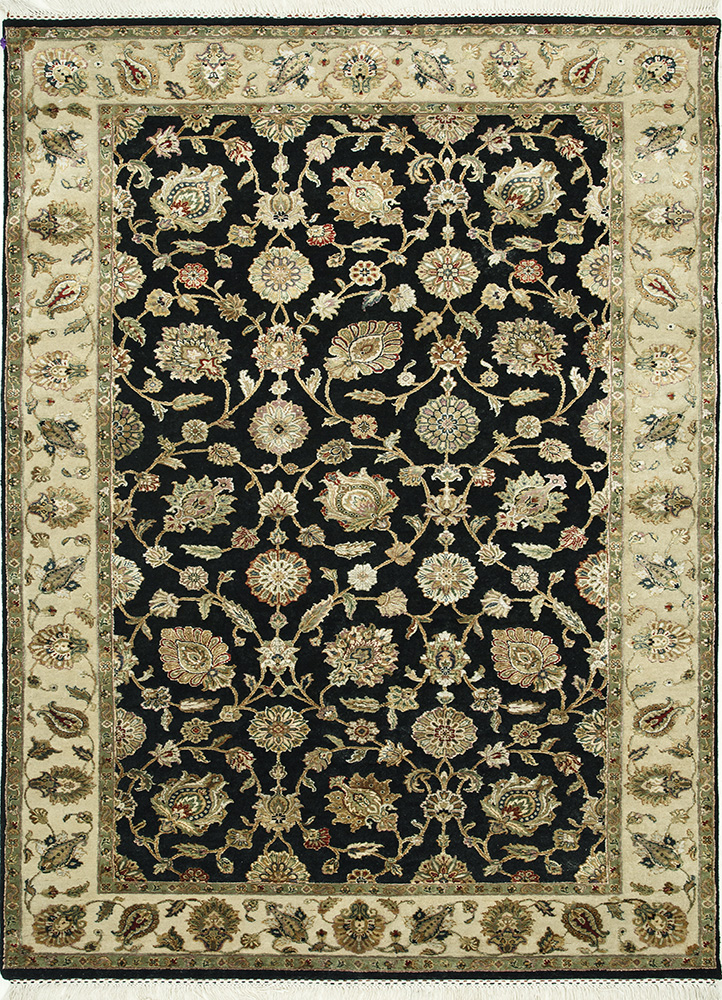QNQ-03 Ebony/Light Gold grey and black wool and silk hand knotted Rug