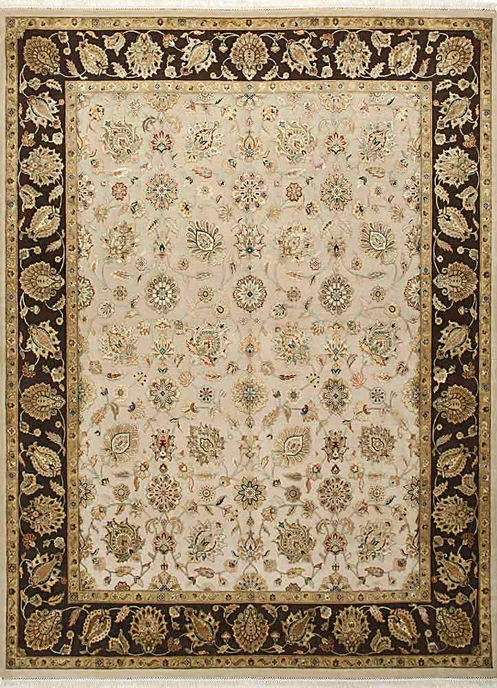 QNQ-03 Eucalyptus/Cocoa Brown ivory wool and silk hand knotted Rug
