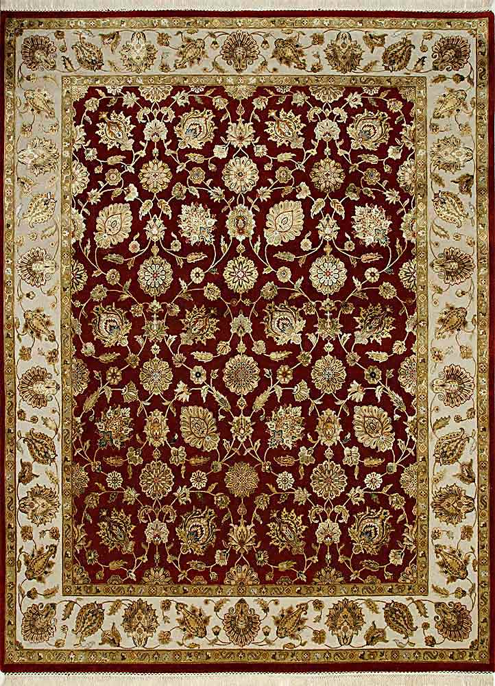 QNQ-03 Medium Red/Medium Ivory red and orange wool and silk hand knotted Rug