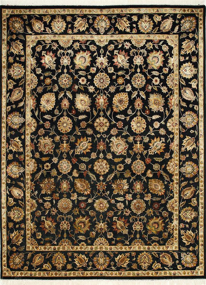 QNQ-03 Ebony/Ebony grey and black wool and silk hand knotted Rug