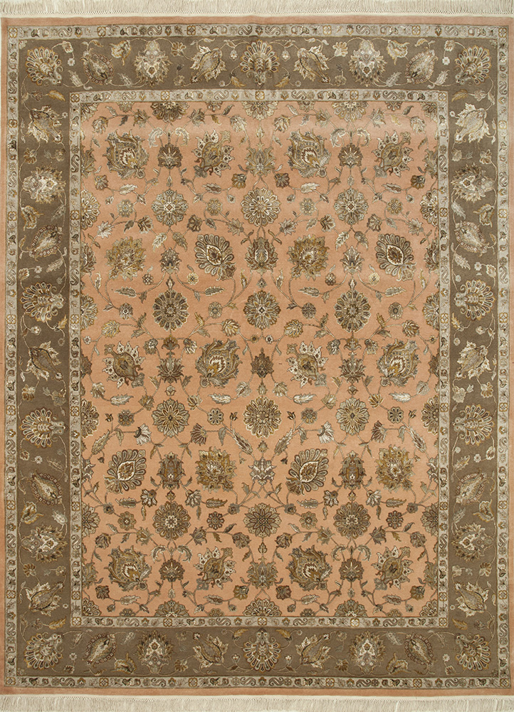 QNQ-03 Peach Bloom/Deep Camel red and orange wool and silk hand knotted Rug