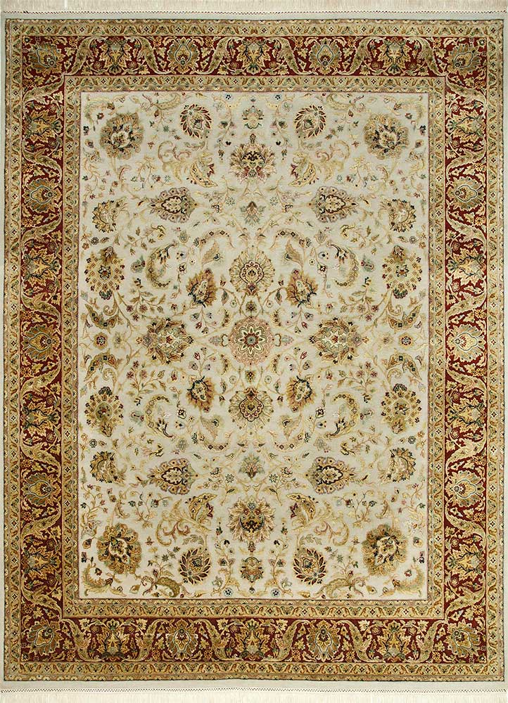 QNQ-10 Medium Ivory/Red ivory wool and silk hand knotted Rug