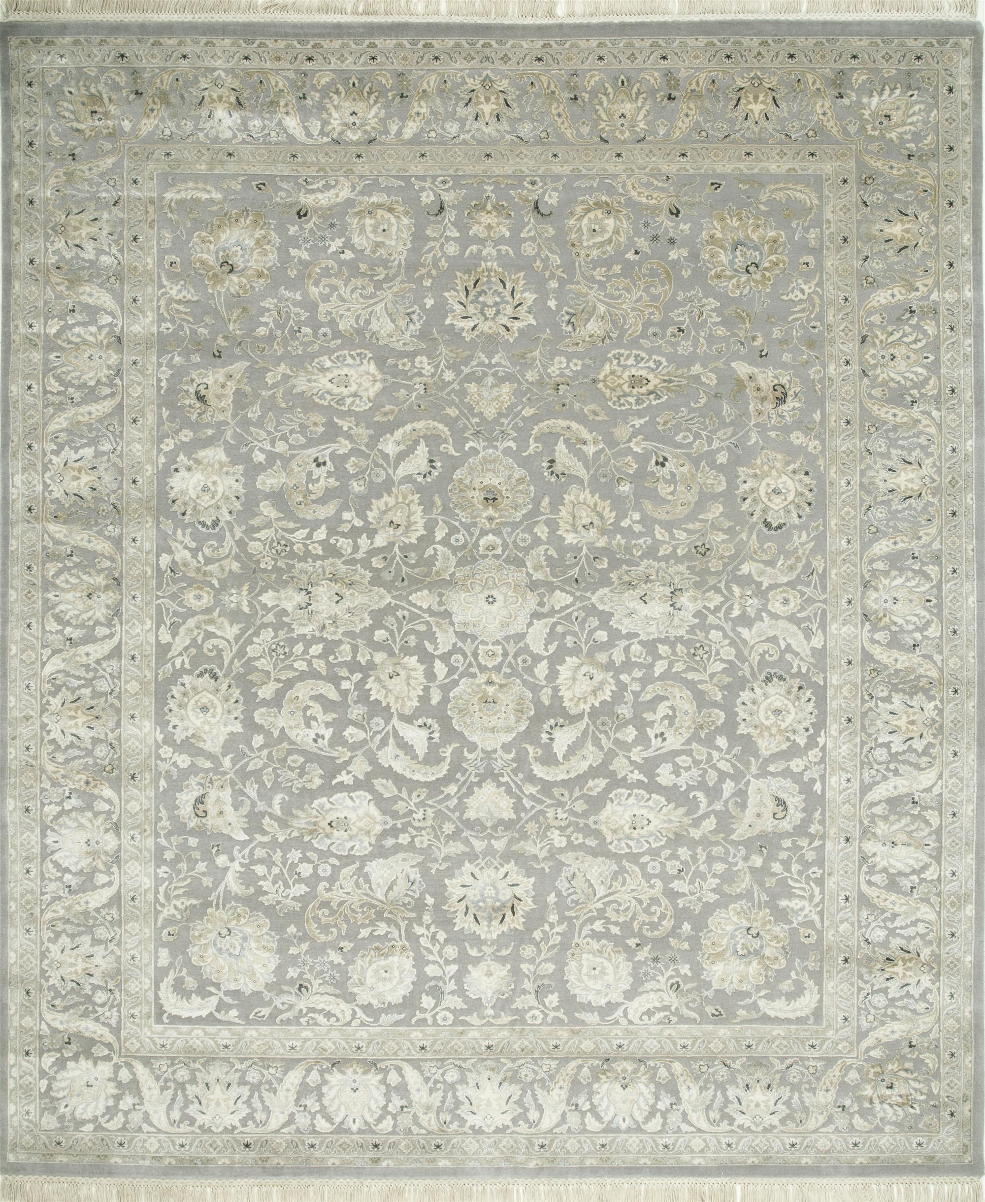QNQ-10 Soft Gray/Soft Gray grey and black wool and silk hand knotted Rug