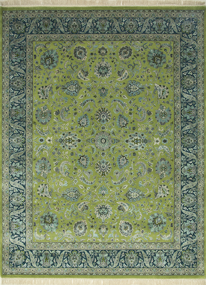 QNQ-10 Medium Lime/Peacock Blue green wool and silk hand knotted Rug