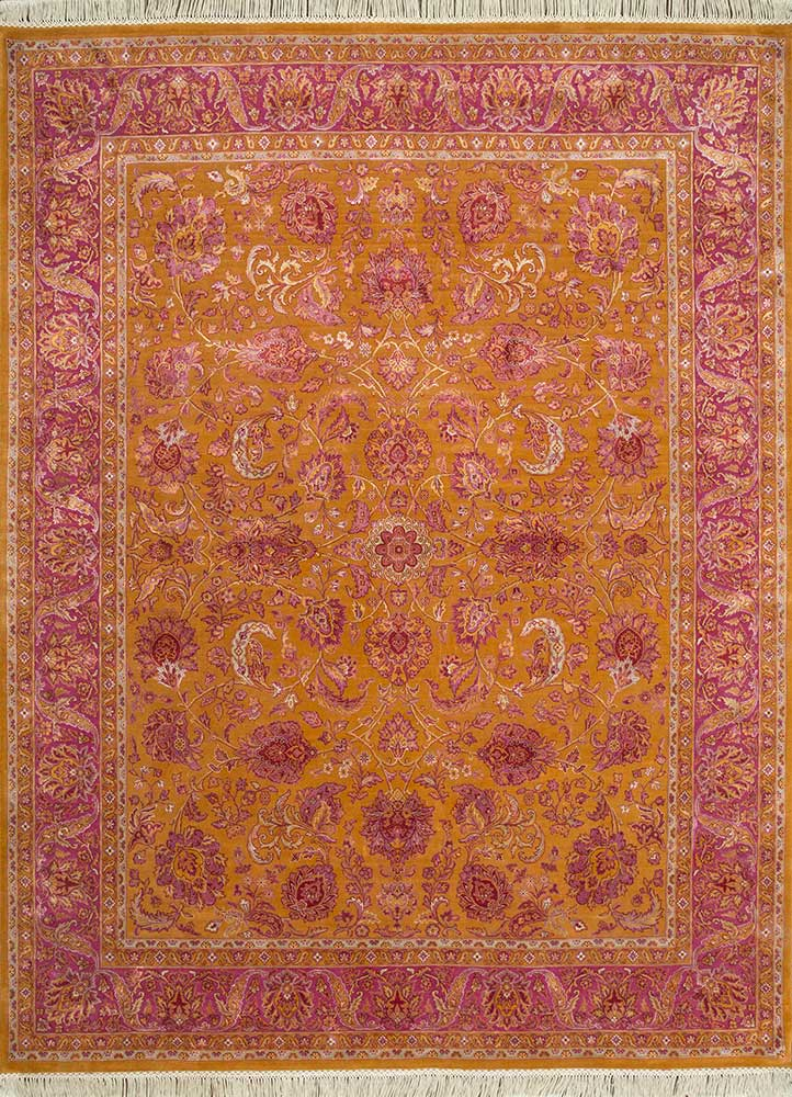 QNQ-10 Sunset/Fuchsia Rose red and orange wool and silk hand knotted Rug