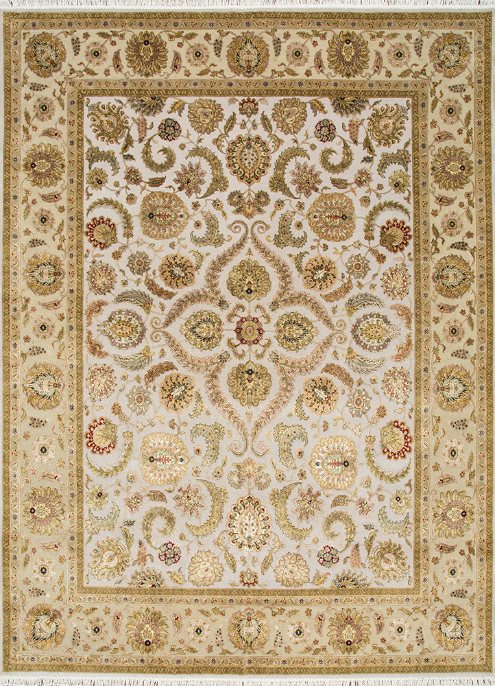 QNQ-21 Medium Ivory/Light Gold ivory wool and silk hand knotted Rug