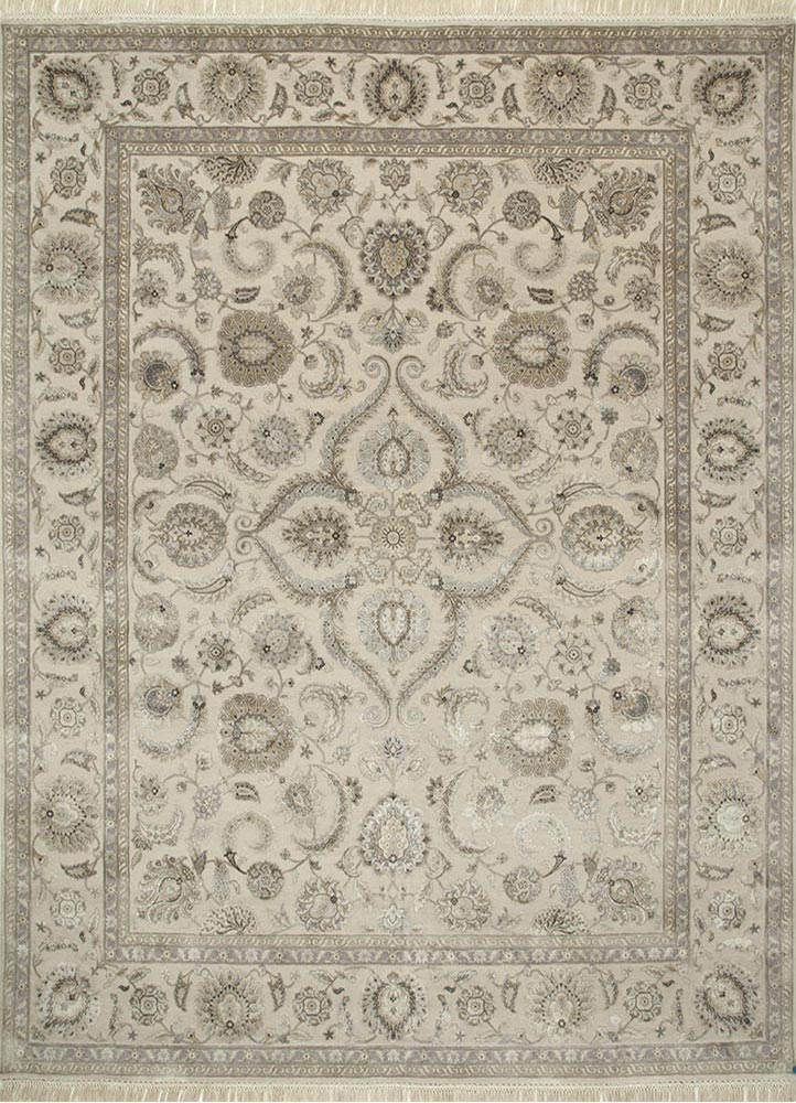 QNQ-21 Off White/Off White ivory wool and silk hand knotted Rug