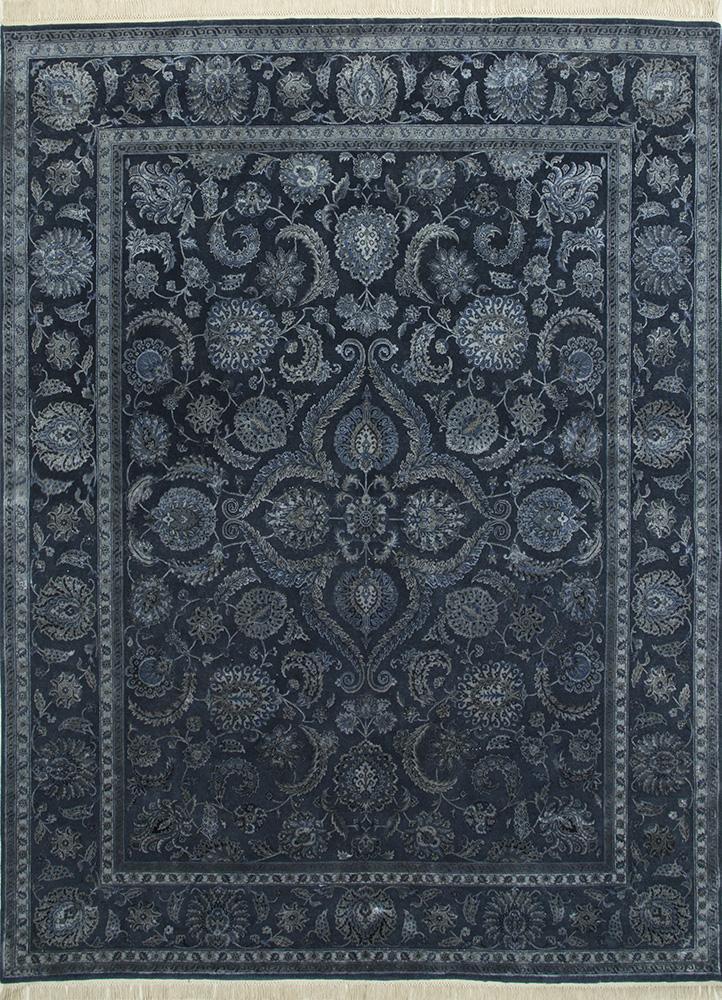 QNQ-21 Deep Denim/Deep Denim blue wool and silk hand knotted Rug