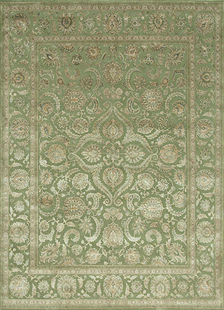 QNQ-21 Light Cedar Green/Light Cedar Green green wool and silk hand knotted Rug