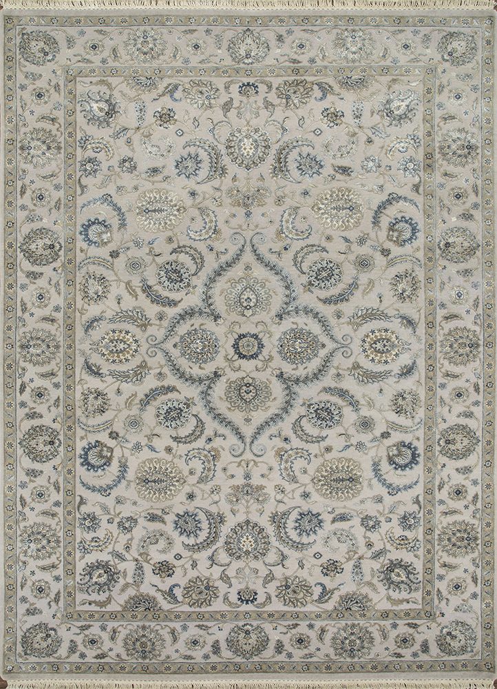 QNQ-21 Crystal Gray/China Blue grey and black wool and silk hand knotted Rug