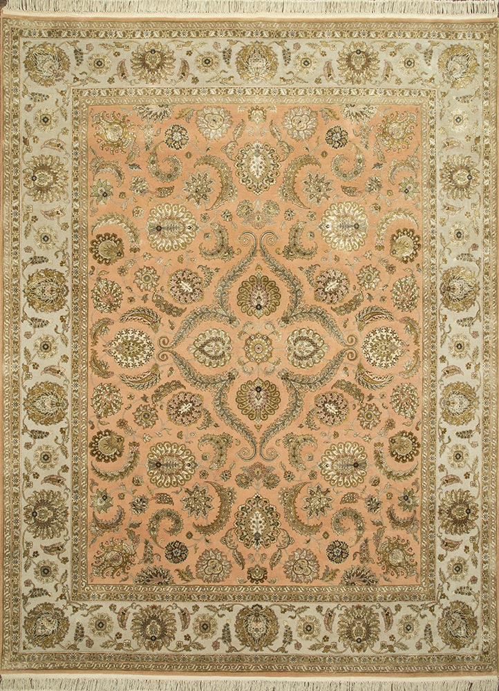 QNQ-21 Peach Bloom/Medium Ivory red and orange wool and silk hand knotted Rug
