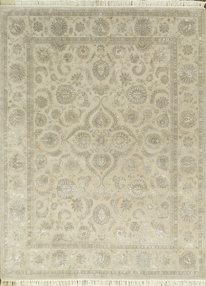 QNQ-21 Oyster/Oyster ivory wool and silk hand knotted Rug