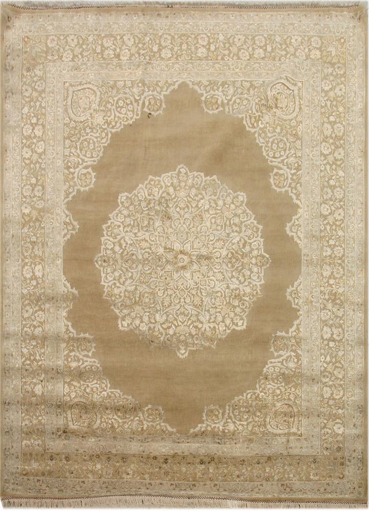 QNQ-55 Dark Sisal/Dark Sisal gold wool and silk hand knotted Rug