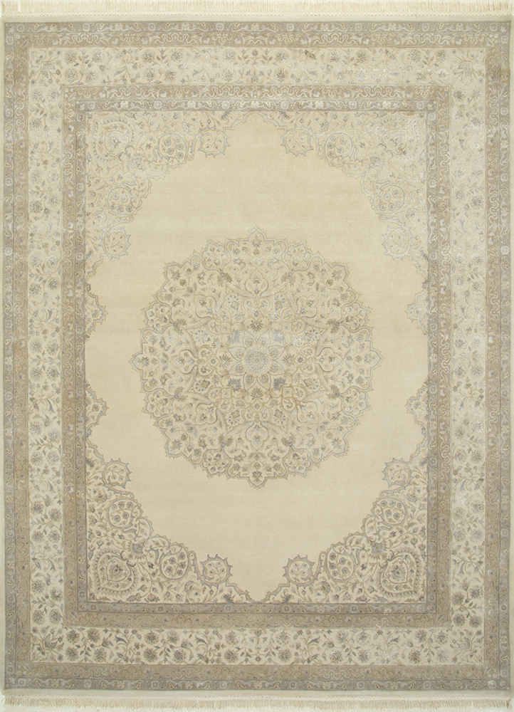 QNQ-55 Oyster/Oyster ivory wool and silk hand knotted Rug