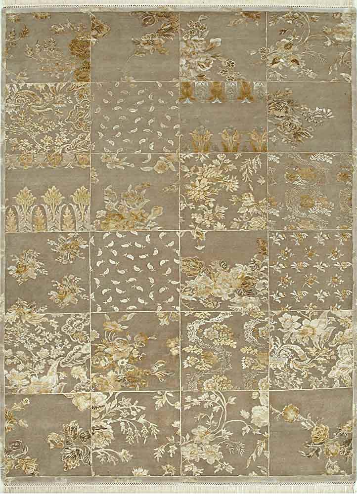 QNQ-58 Gray/Gray beige and brown wool and silk hand knotted Rug