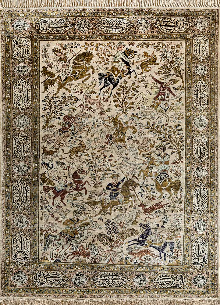antique green silk hand knotted Rug - HeadShot
