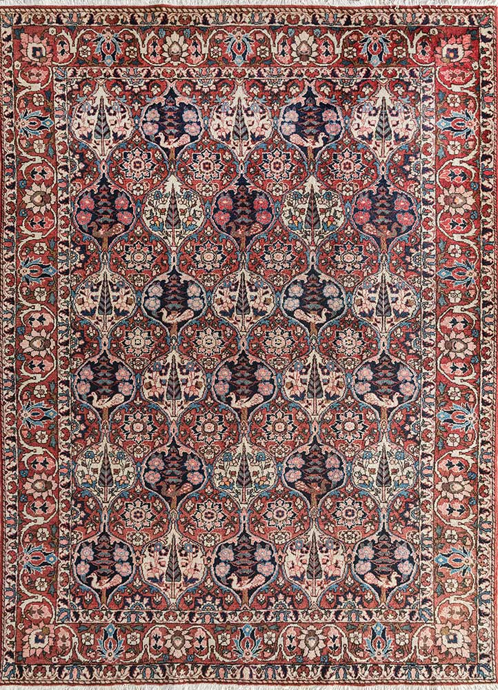 antique pink and purple wool hand knotted Rug - HeadShot
