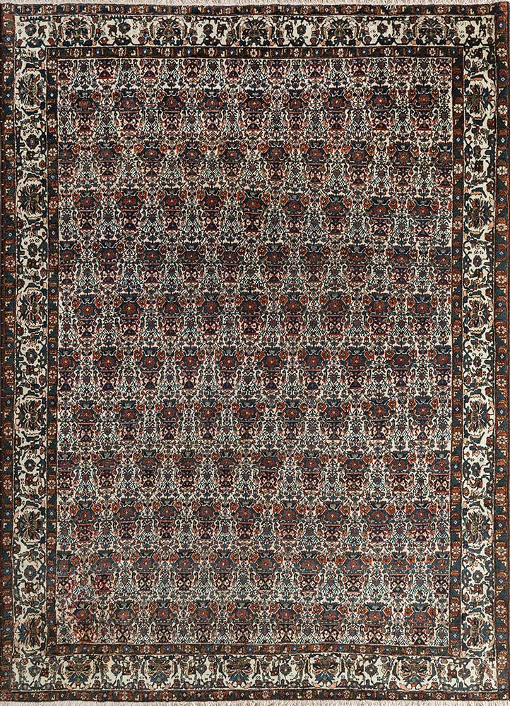 antique ivory wool hand knotted Rug - HeadShot
