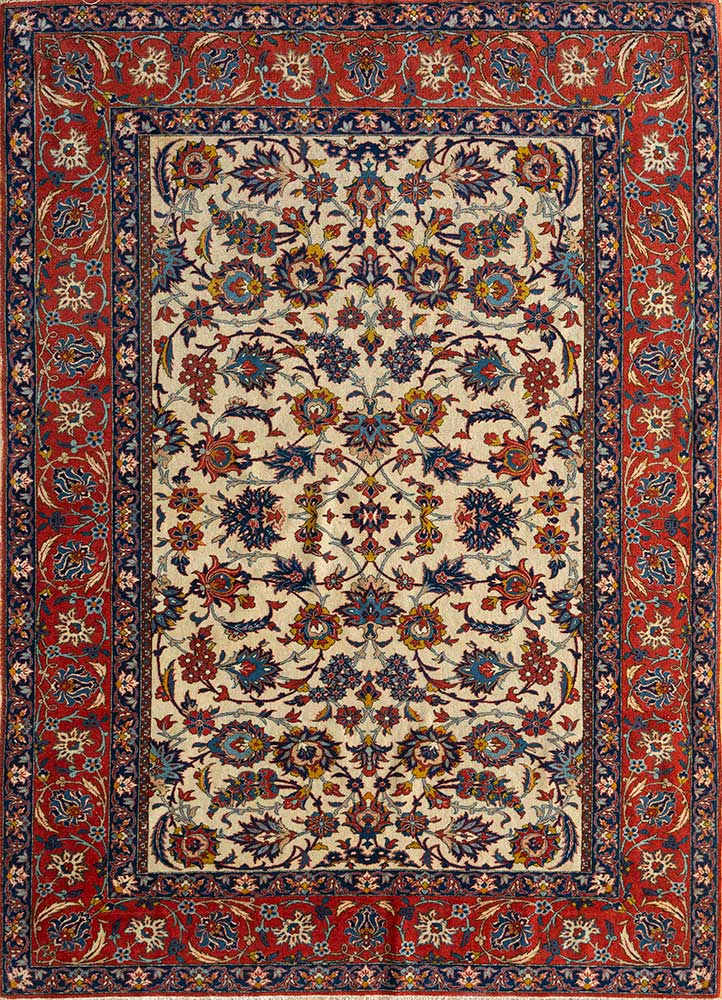 antique gold wool hand knotted Rug - HeadShot