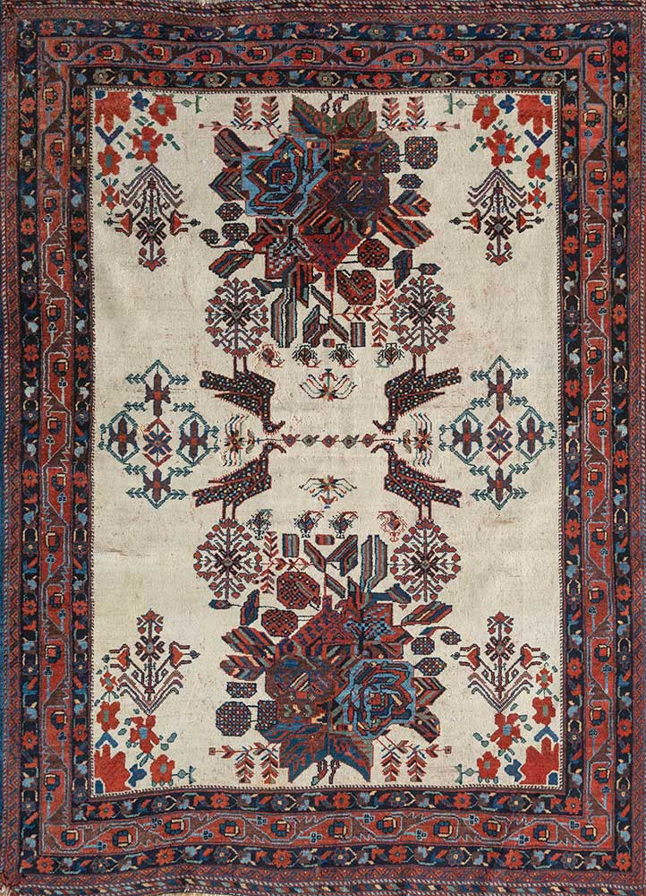 antique beige and brown wool hand knotted Rug - HeadShot