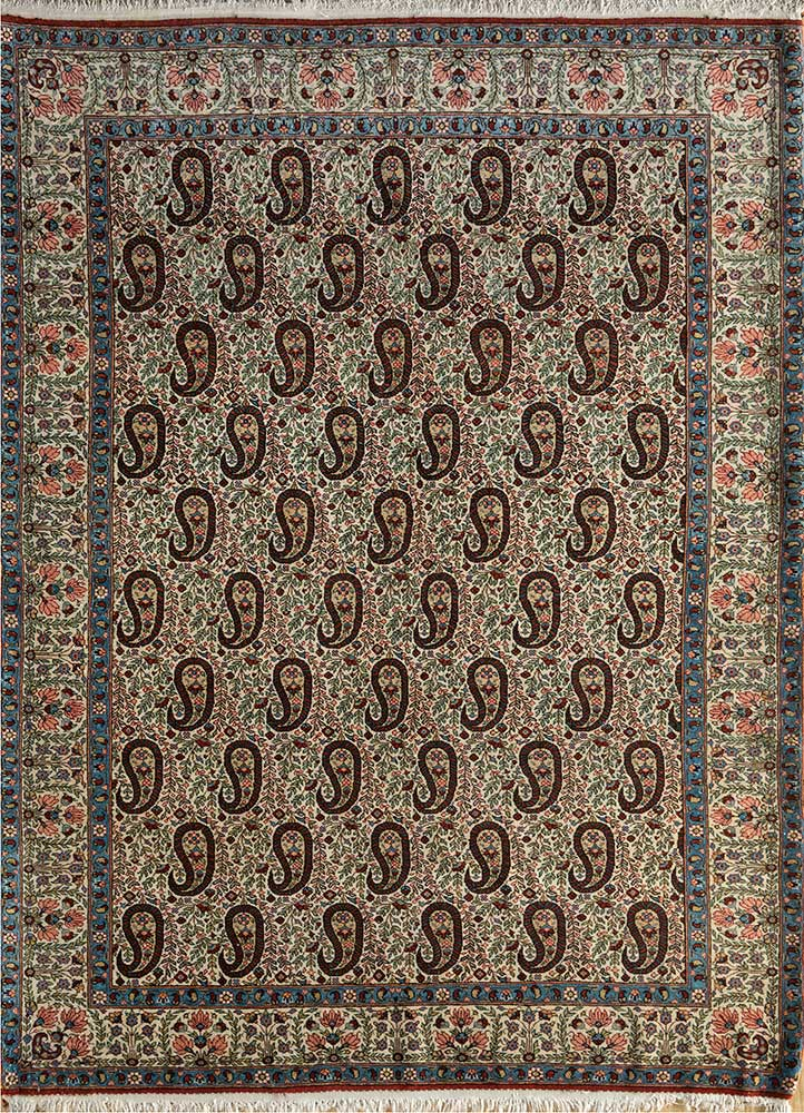 antique green wool hand knotted Rug - HeadShot