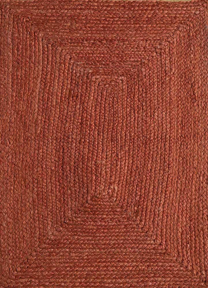 abrash red and orange jute and hemp flat weaves Rug - HeadShot