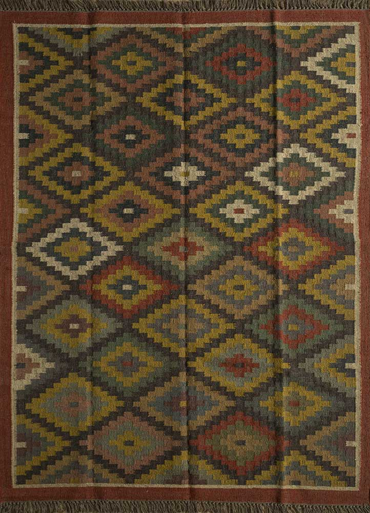 SDJT-62 Dark Brown/Red beige and brown jute and hemp flat weaves Rug