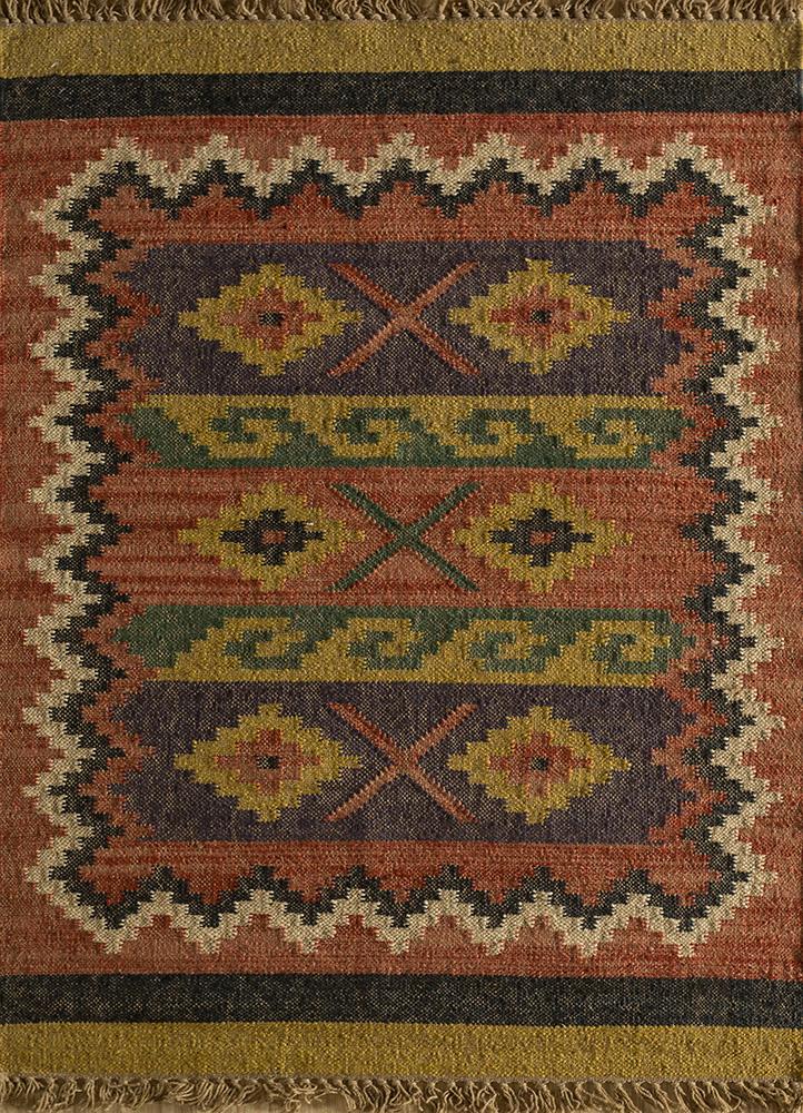 bedouin red and orange jute and hemp jute rugs Rug - HeadShot