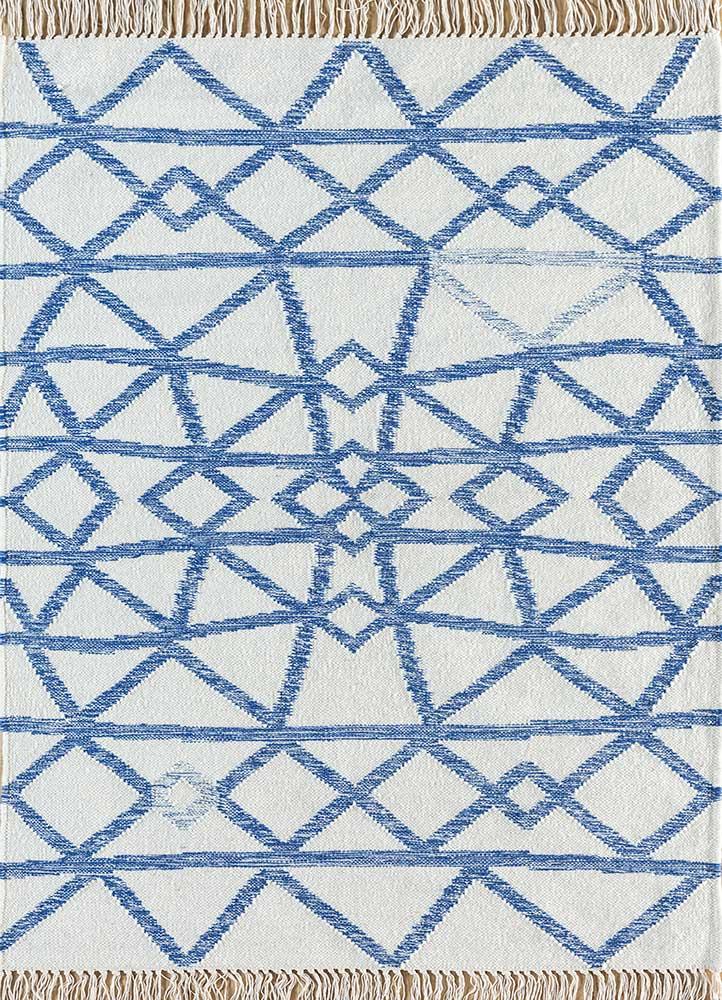 SDWL-141 Winter White/Blue Berry ivory wool flat weaves Rug